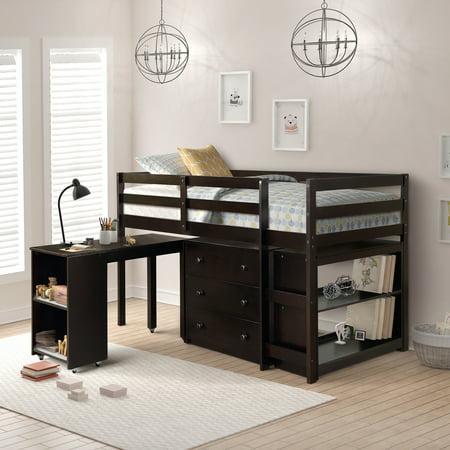 Harper&Bright Designs 4-Piece Wood Twin Loft Bed with Desk, Chest and Shelf, Multiple Storage, Espresso 3 Wood 15 Degree Loft
