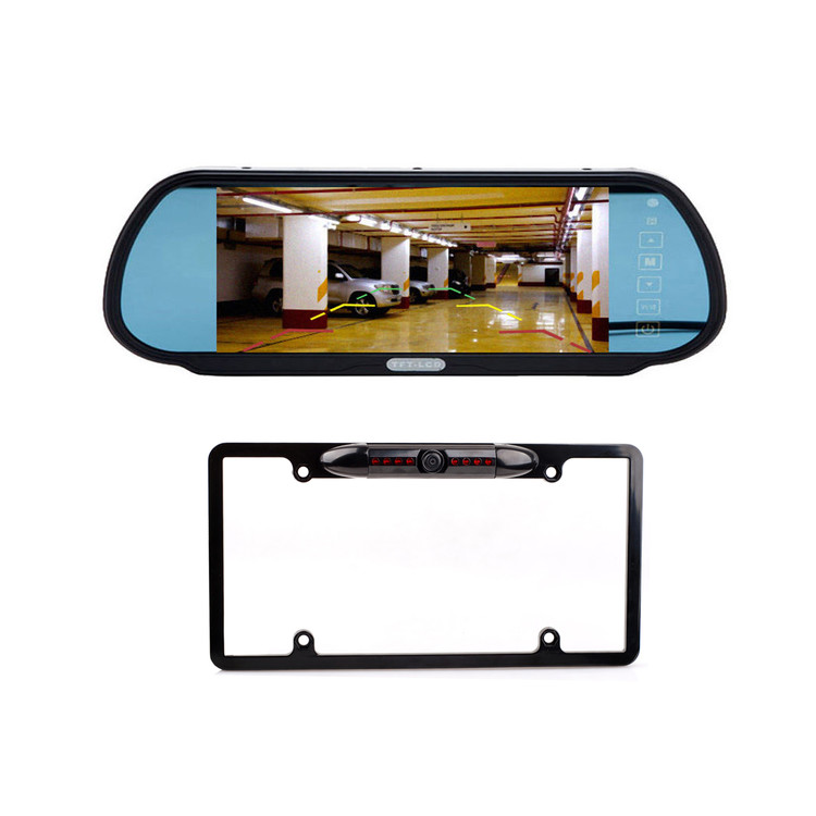 "7"" TFT LCD Monitor Mirror Car Backup US License Plate Frame Camera Parking Kit"