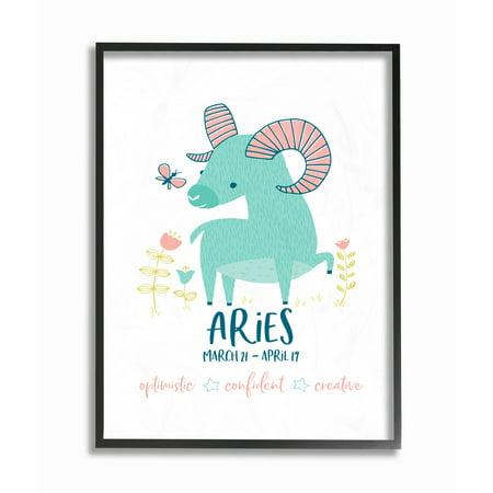 The Kids Room by Stupell Fun Modern Zodiac Aries Ram Framed Giclee Texturized Art, 11 x 1.5 x (Aries Zodiac Personality)