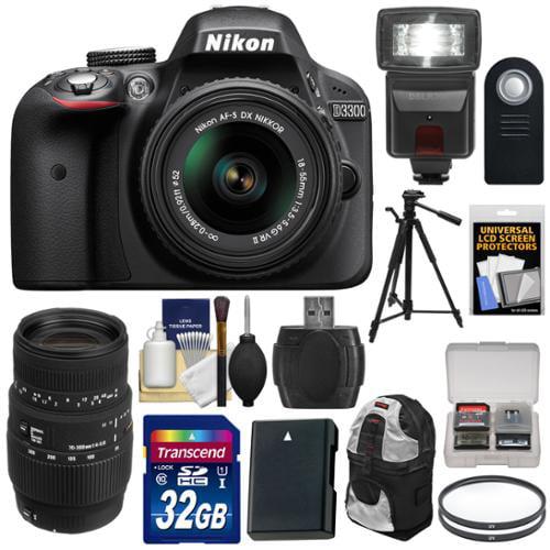 Nikon D3300 Digital SLR Camera & 18-55mm VR DX II AF-S (Black) & 70-300mm Lens with 32GB Card + Battery + Backpack Case + Flash + Tripod Kit