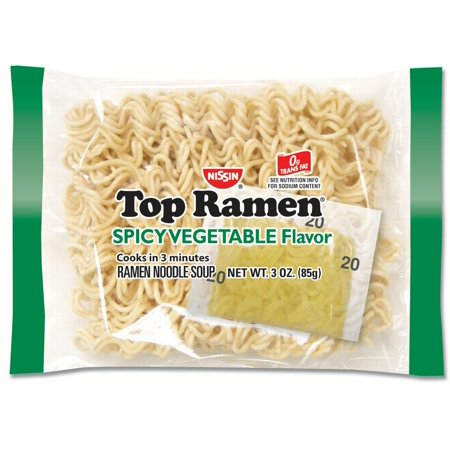 (24 Packs) Nissin Top Ramen Spicy Vegetable Flavor, 3 oz (Rahmen Kona)