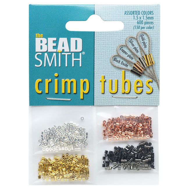 BeadSmith Crimp Tube 4 Pack, 1.5x1.5mm, 600 Pieces, 4 Metallic Colors