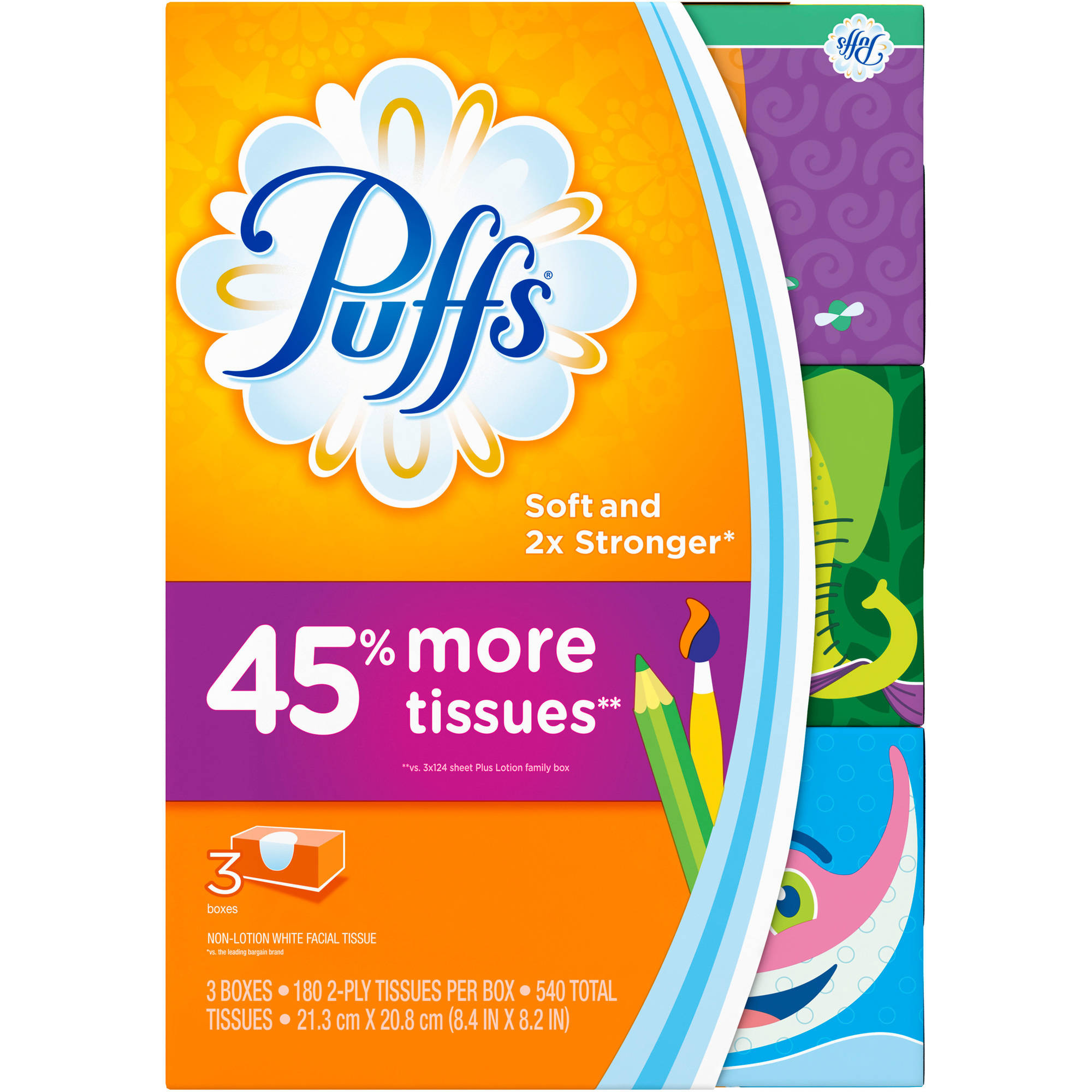 Puffs Basic Facial Tissues, 180 sheets, 3 count