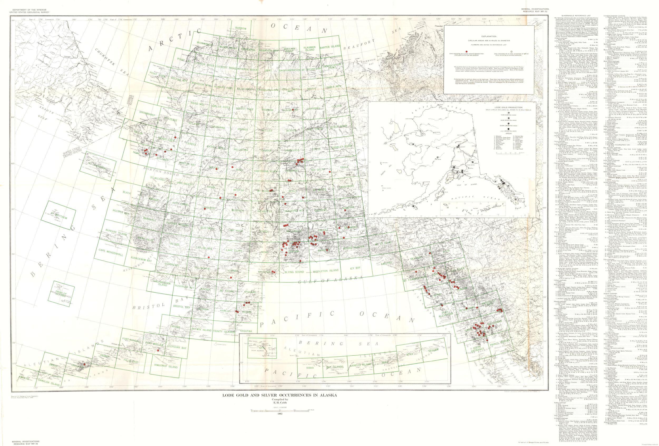 Alaska Mine Map Lode Gold Silver Usgs 1946 33 96 X 23