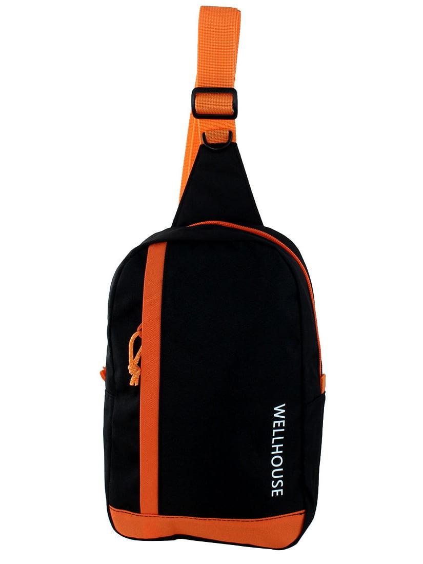 Wellhouse Authorized Outdoor Travel Adjustable Shoulder Strap Chest Bag Black by Unique-Bargains