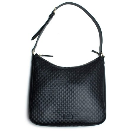 Gucci MicroGuccisima Black Large Hobo Leather Bag Buckle Top zip Purse Italy New ()