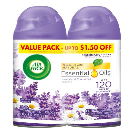 Three Wick Glass - Air Wick Freshmatic 2 Refills Automatic Spray, Lavender & Chamomile, (2X6.17oz), Air Freshener