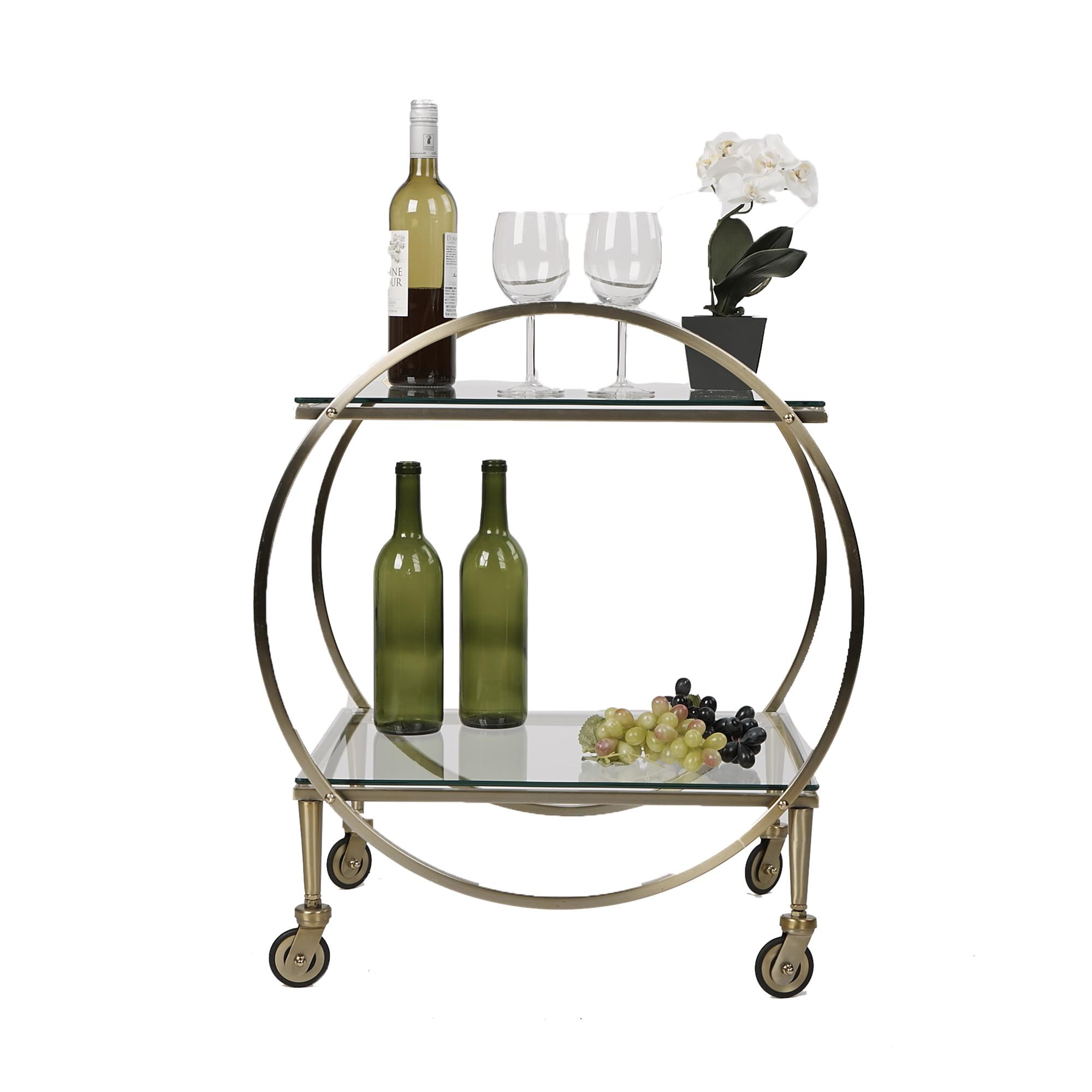 Mind Reader 2 Tier Bar Cart, Metal Bar Cart with Glass Top, Portable Bar Cart, Mobile Glass Pushing Cart, Glass Top Gold Finish, Clear