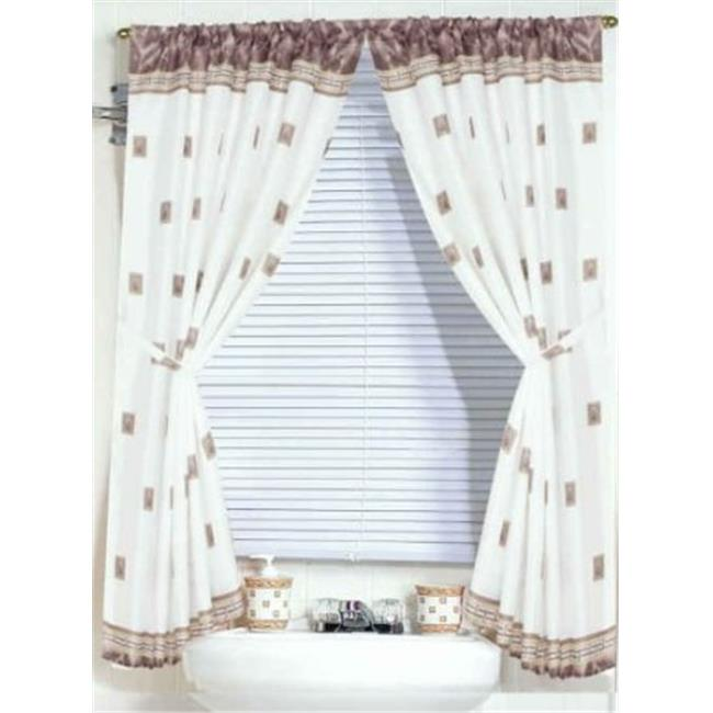 """Windsor"" 100% polyester fabric window curtain with two tie backs, size 54""x34"""
