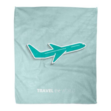 ASHLEIGH Flannel Throw Blanket Flight Aeroplane Travel The World Plane Airplane Passenger Graphic Soft for Bed Sofa and Couch 50x60