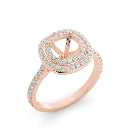 Cushion Cut Double Halo Natural 80 Round Diamond Engagement Ring 14k Rose Gold