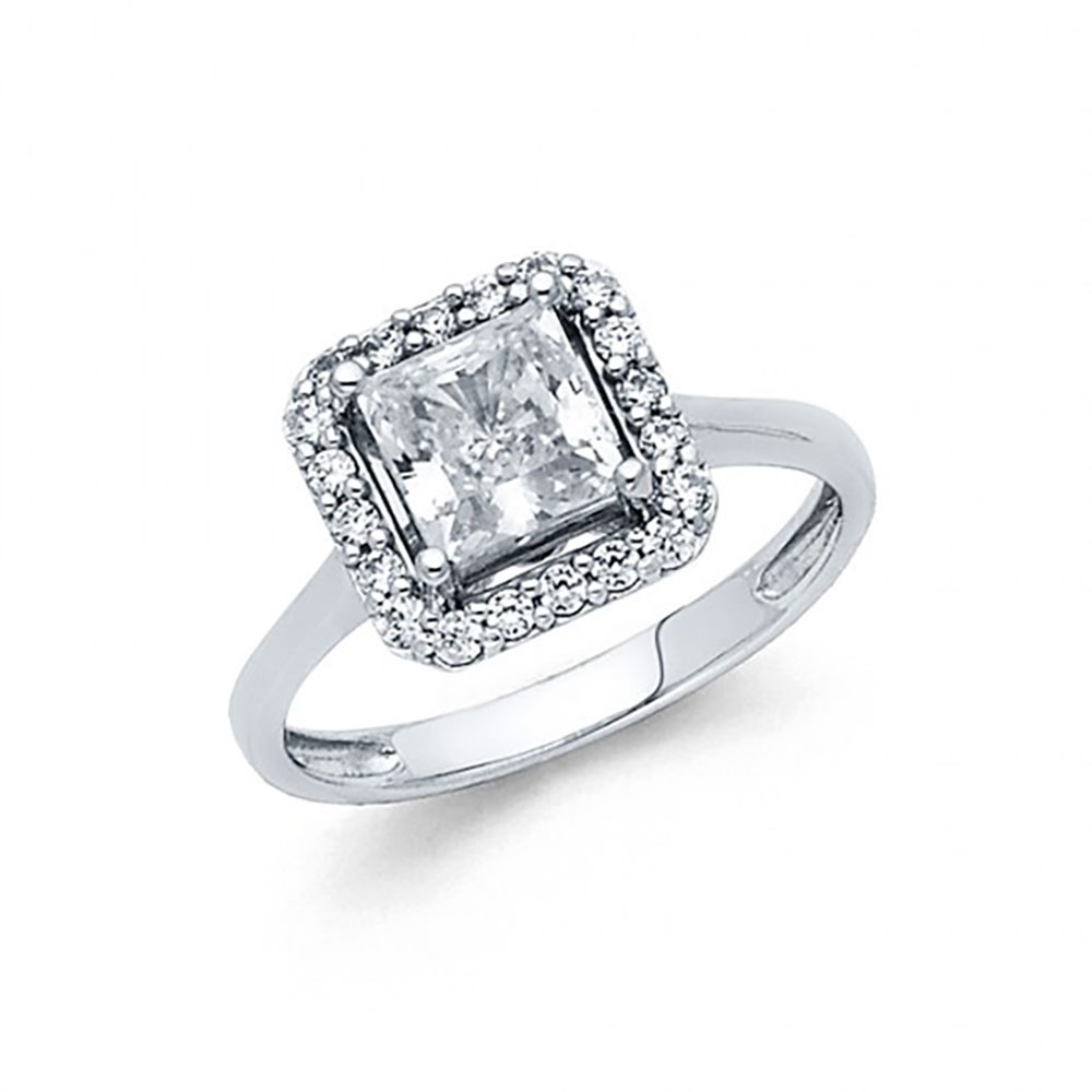 14k White Gold CZ Halo Pave Engagement Ring