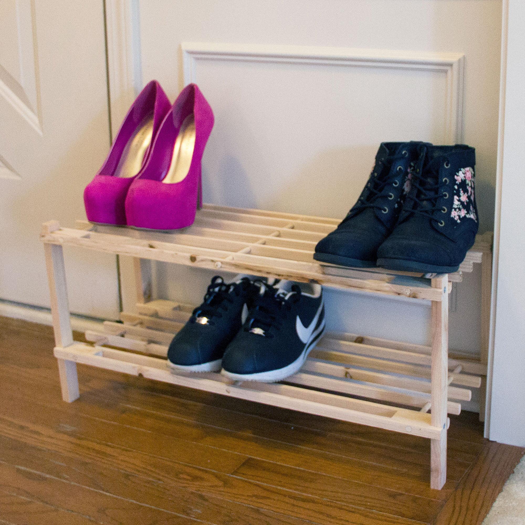 Lavish Home 2-Tier Blonde Wood Shoe Storage Rack