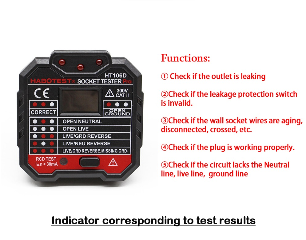 Digital Display Socket Tester Plug Polarity Phase Check Detector Voltage Test Multi-Function Electroscope by
