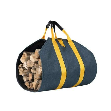 Firewood Log Carrier Bag Durable Wood Tote Indoor Log Storage Holder Bag Fireplace Wood Stove Accessories (Blue) by ZELARMAN ()