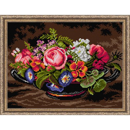 Orchidea Still Life with Pink Peonies Needlepoint Canvas ()