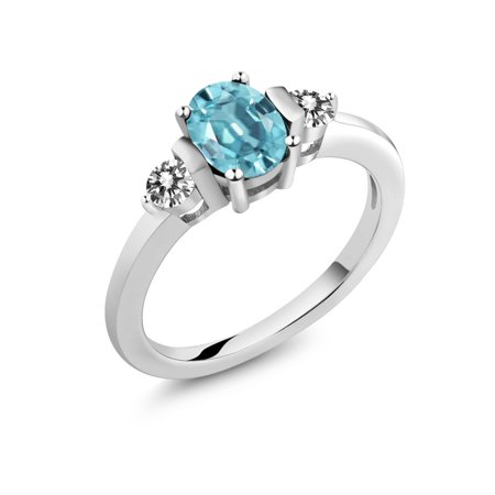 1.40 Ct Oval Blue Zircon White Diamond 925 Sterling Silver Ring