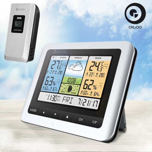 Digoo USB Thermometer Wireless Weather Forecast Station + Outdoor Sensor Clock