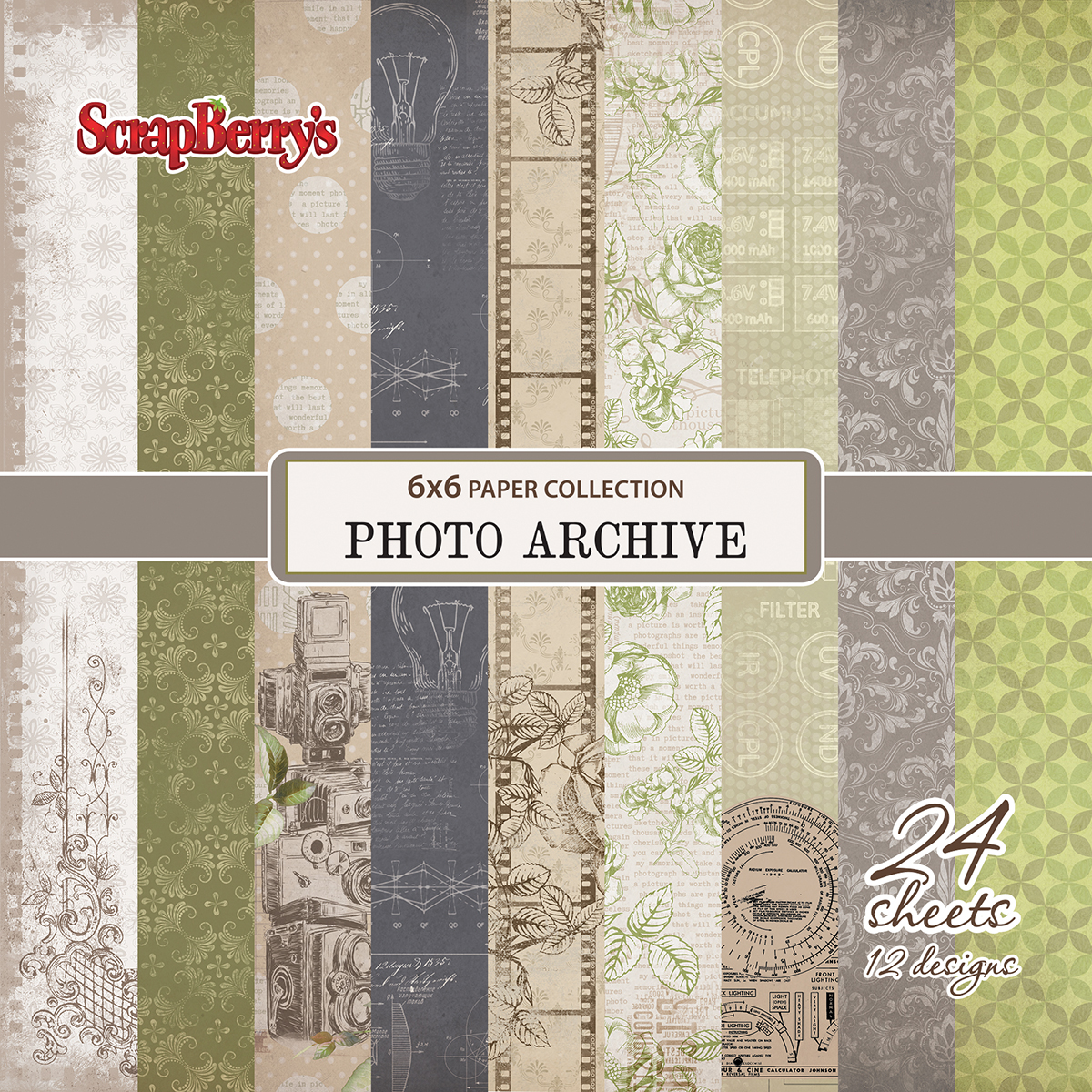 """ScrapBerry's Photo Archive Paper Pack 6""""X6"""" 24/Pkg-12 Single-Sided Designs/2 Each"""