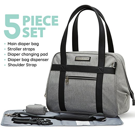 SoHo Collections, Diaper Bag with Stroller Straps, Changing Pad, Bottle Bag, Multiple Pockets, Large Waterproof Nappy Tote Bag, Complete 5-Piece Diaper Bag Set, BushWick (Grey)