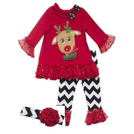 Pretty Eye Red Reindeer Little Girls Christmas Pant Set with Headband