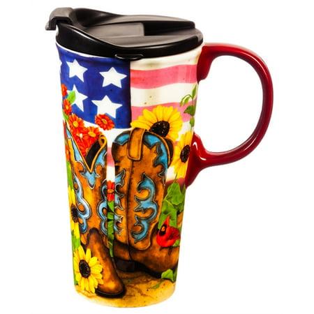 Ceramic Travel Cup, 17 oz., Sunflower - Sunflower Ceramic Plates