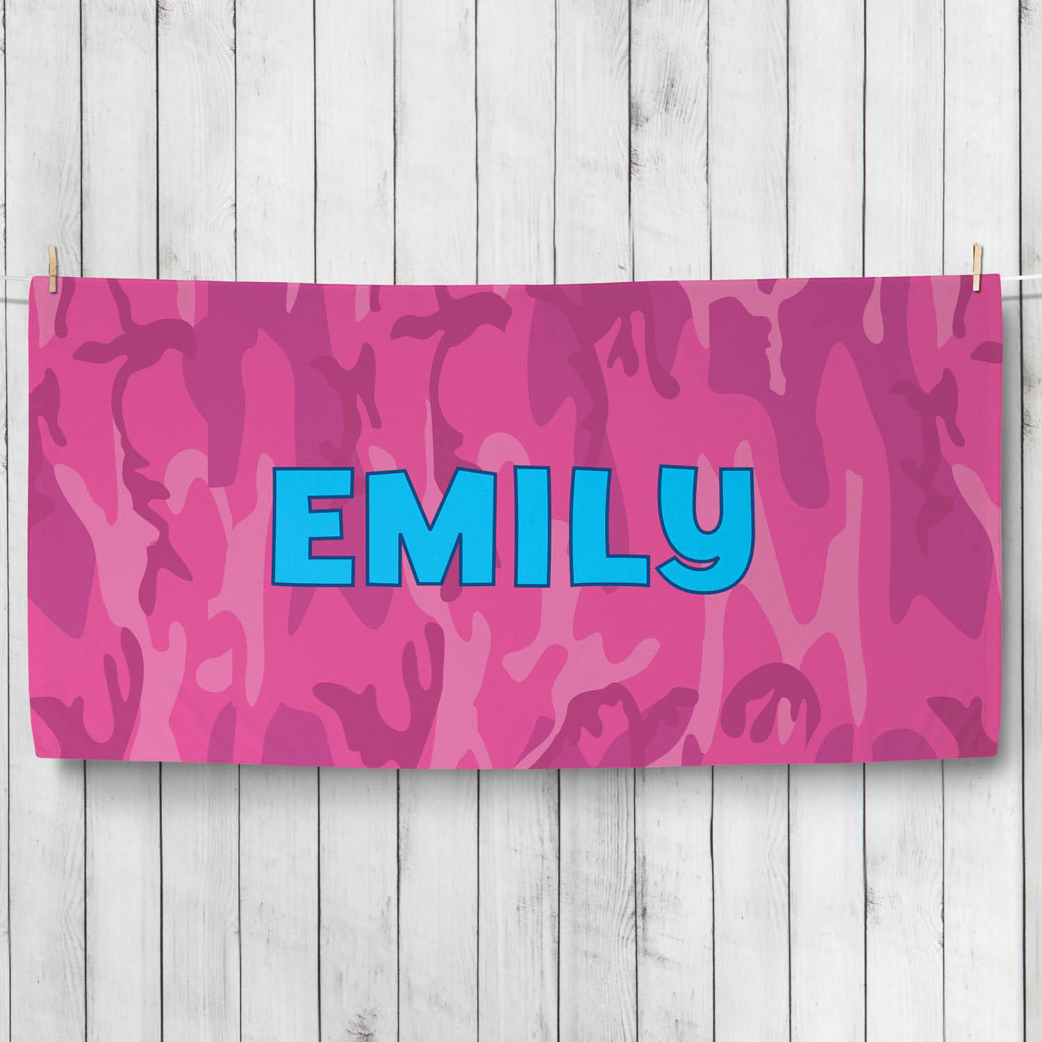 Personalized Pink Camo Towel