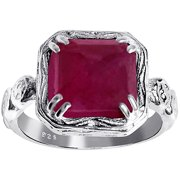 6.05 Carat Weight Genuine Ruby 925 Sterling Silver Ring