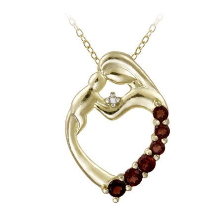 Baby Shoes Heart Necklace - 18K Gold over Sterling Silver & Diamond Accent Mother and Baby Heart Necklace