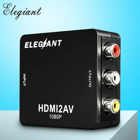 ELEGIANT Mini HD MI to RCA Audio Converter Video AV CVBS HD TV Adapter,USB 720p/1080P,Apply to camera, DVD, Displayer, Earphone, -