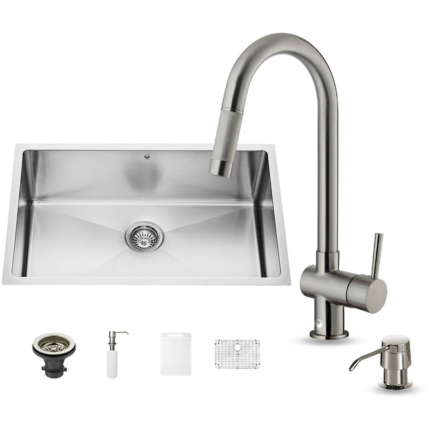 "Vigo All-in-One 30"" Undermount Stainless Steel Kitchen Sink and Faucet Set"