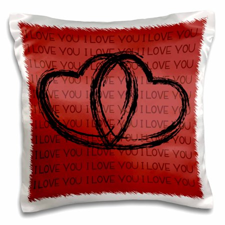 (3dRose Black Sketched Hearts On A Deep Red Background That Says I Love You - Pillow Case, 16 by 16-inch)
