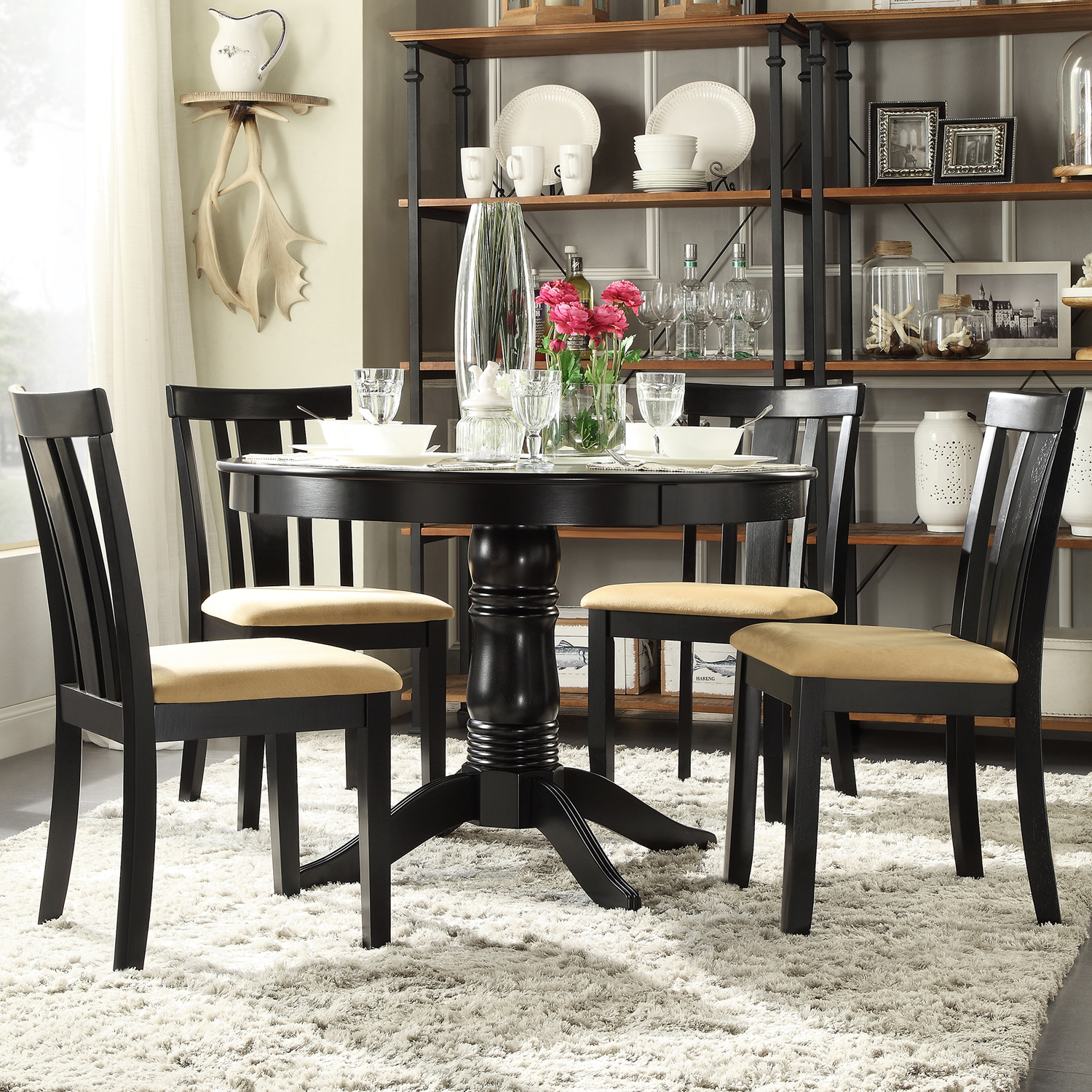 Lexington 5-Piece Round Dining Set with 4 Slat Back Chairs