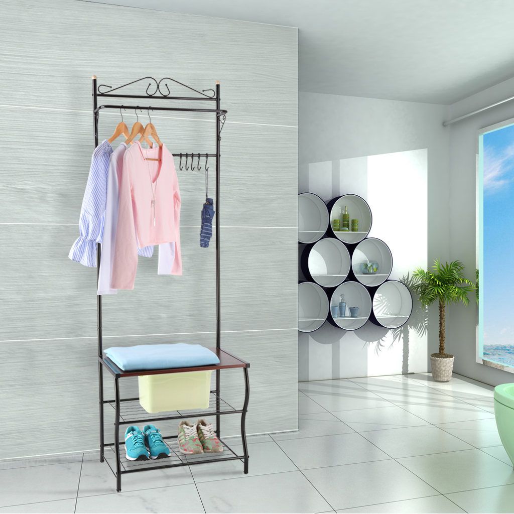 LANGRIA Entryway Metal Storage Shoe Bench with Coat Rack
