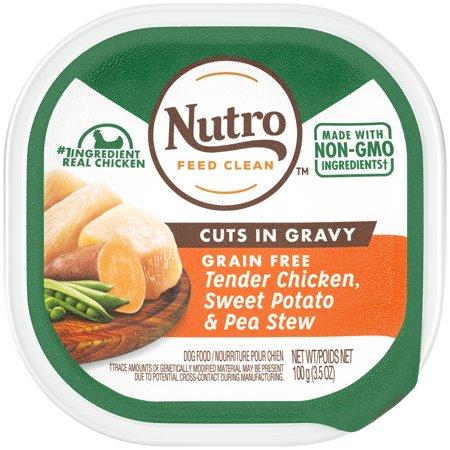 NUTRO Grain Free Wet Dog Food Cuts in Gravy Tender Chicken, Sweet Potato & Pea Stew, 3.5 oz.