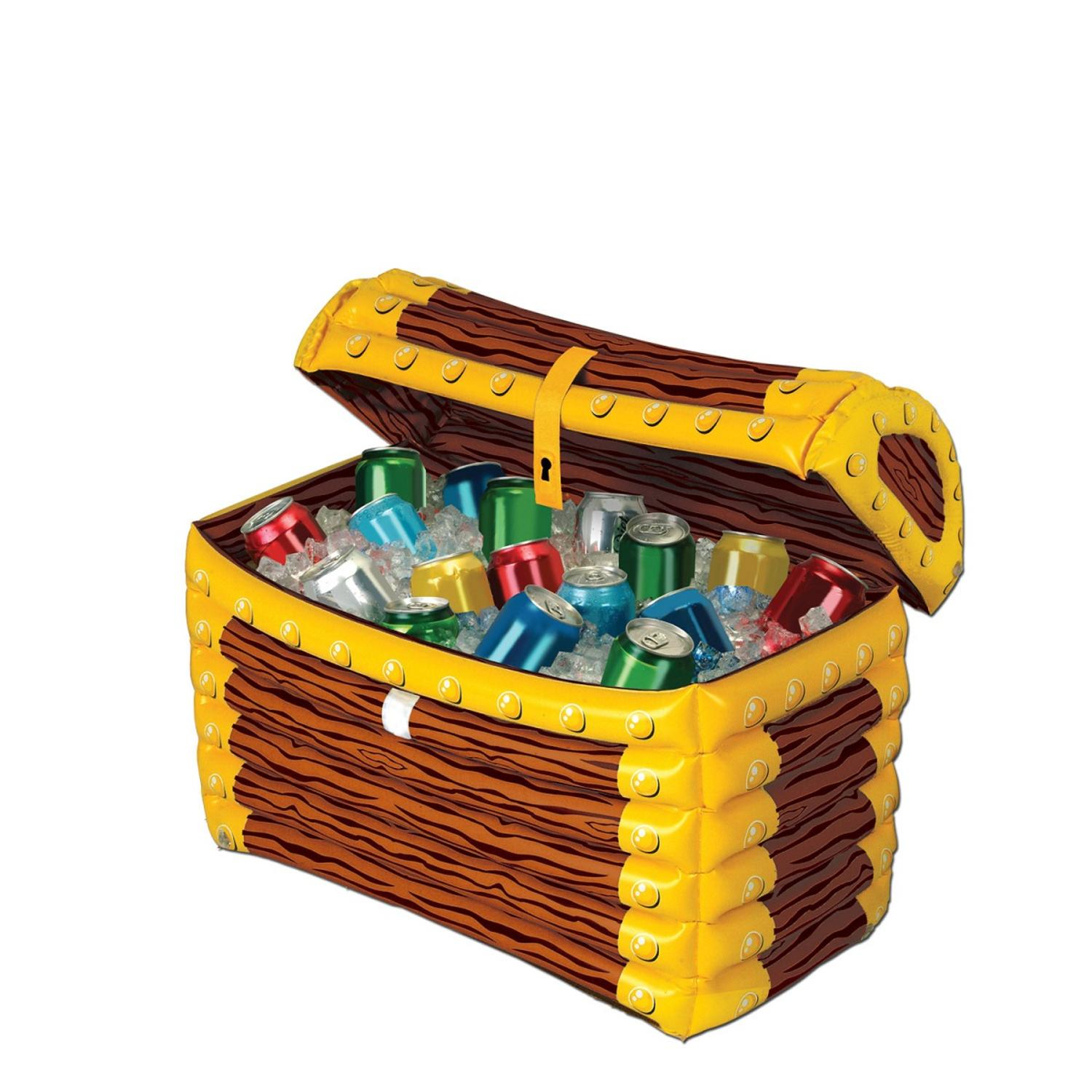 """24"""" Giant Inflatable Brown and Yellow Pirate Treasure Chest Party Drink Cooler"""