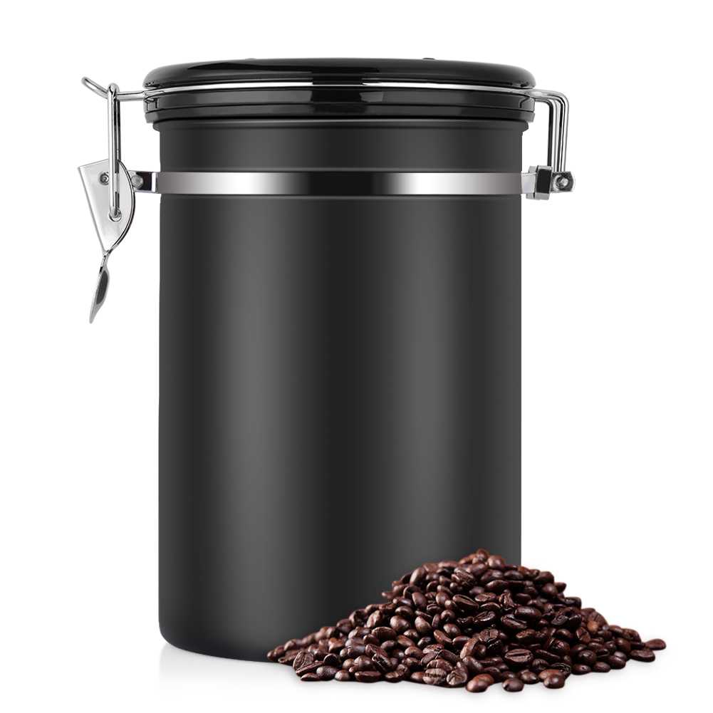 The Ultimate Vacuum Sealed Coffee Container,Stainless Steel Black Kitchen Sotrage Canister for Coffee
