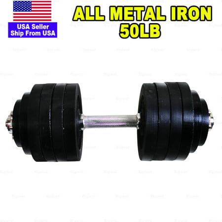50lb Adjustable Dumbbells Full Metal Total 50lb Weights Black Plated Cast Iron Single Unit