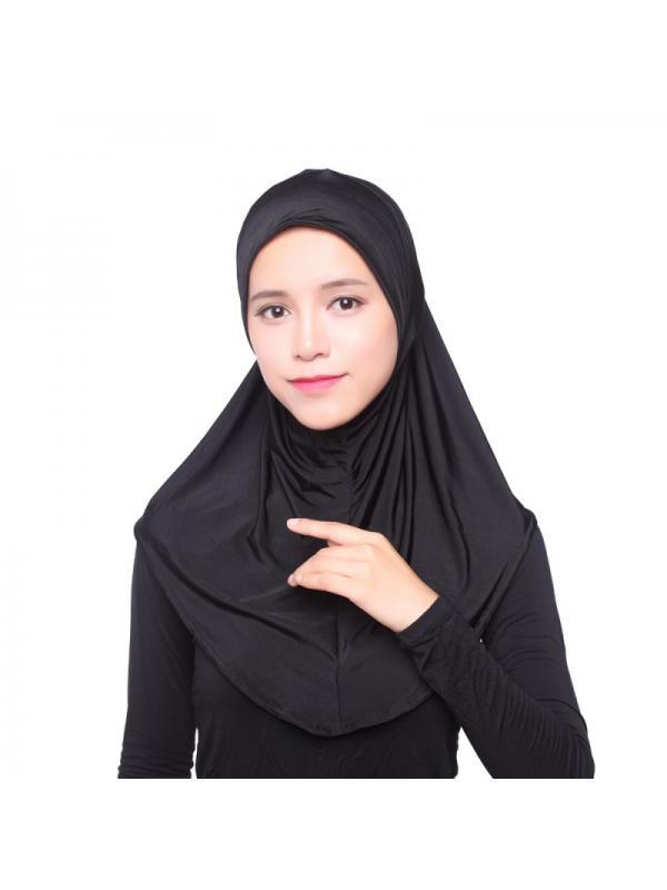 Fashion Women Muslim Scarf Full Cover Inner Hijab Cap Islamic Hat Underscarf Black