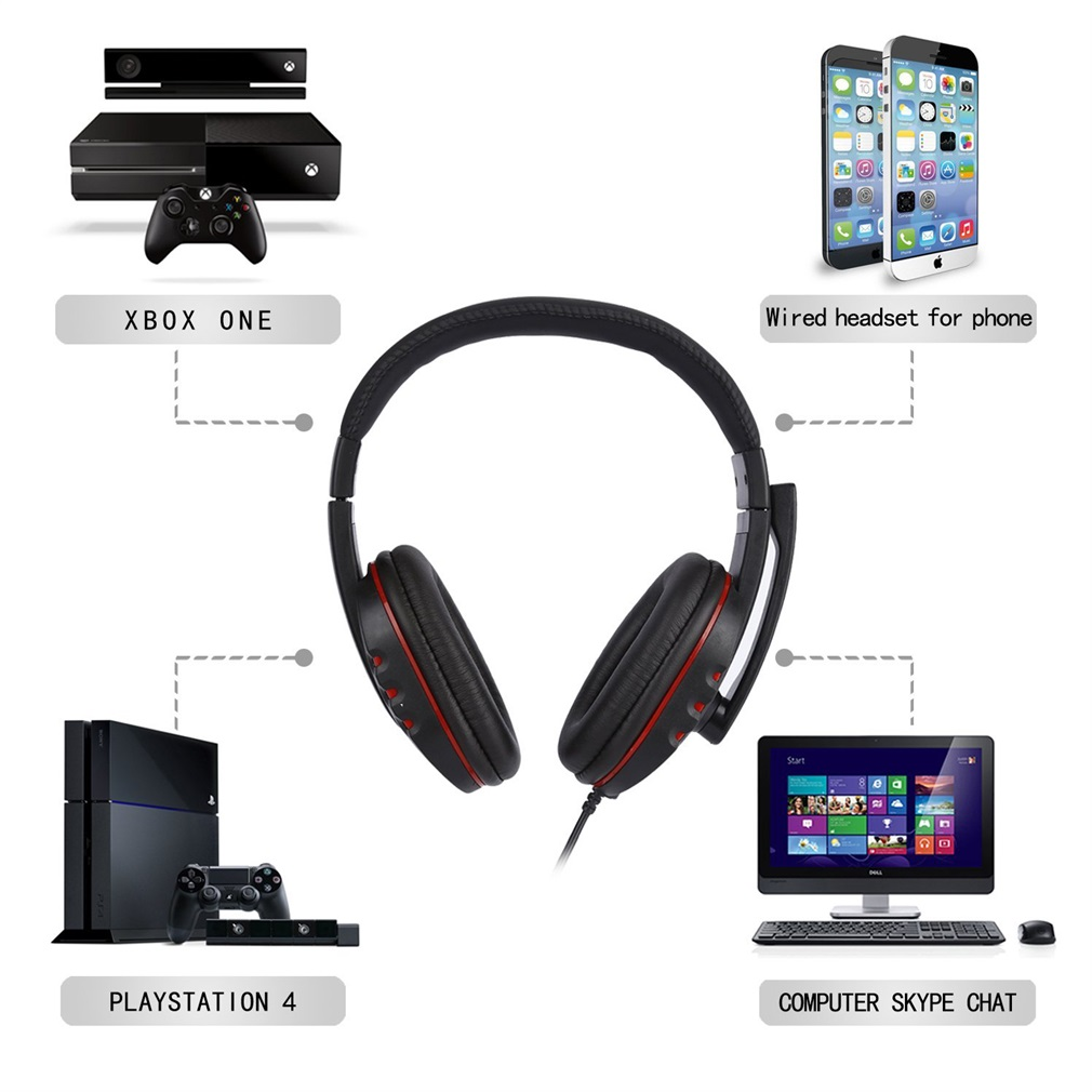 Leather USB Wired Stereo Micphone Gaming Earphones for Sony PS3 PS4 PC Game Laptop Black NEW