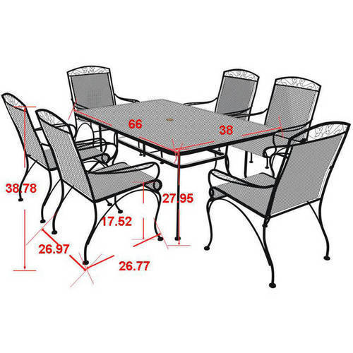 Mainstays Jefferson Wrought Iron 7Piece Patio Dining Set Seats 6