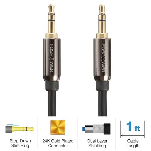 FosPower Premium Durable 3.5mm (M) to 3.5mm (M) Stereo Audio Aux Cable Cord Wire - 1FT