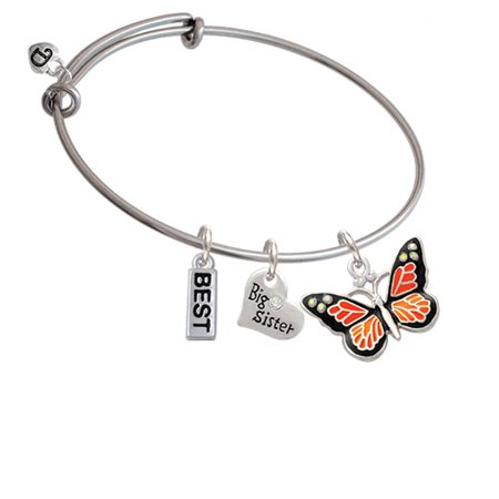 Large Monarch Butterfly with 6 AB Crystals Big Sister Heart Expandable Bangle Bracelet