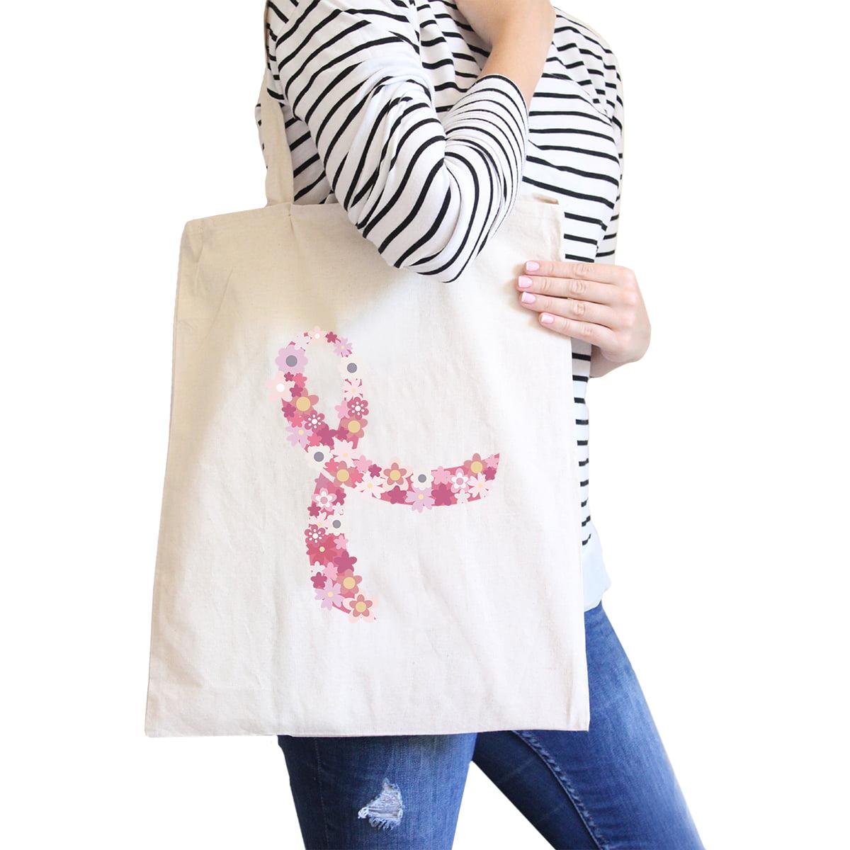 Pink Floral Ribbon Cute Design Canvas Tote Bag Washable Eco Bag