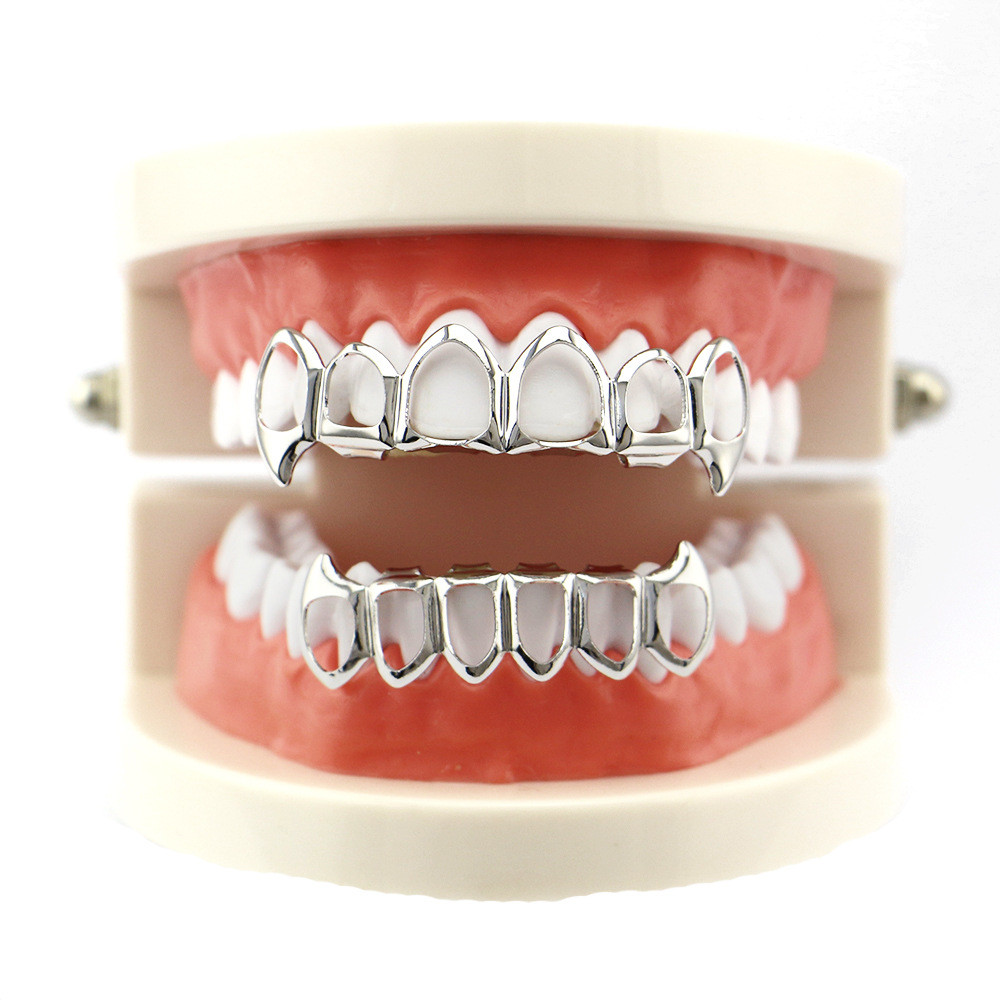 Details about  /Brand New 14k Gold Plated Half Teeth Top and Bottom Set Fang Hip Hop Grillz