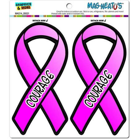 Courage Breast Cancer Awareness Pink Support Ribbon Automotive Car Refrigerator Locker Vinyl Magnet Set