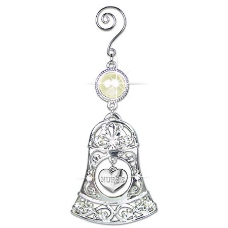 - Nurse Filigree Holiday Christmas Ornament Bell with Hanging Heart Charm Jewels and Pearl 5.5 Inch