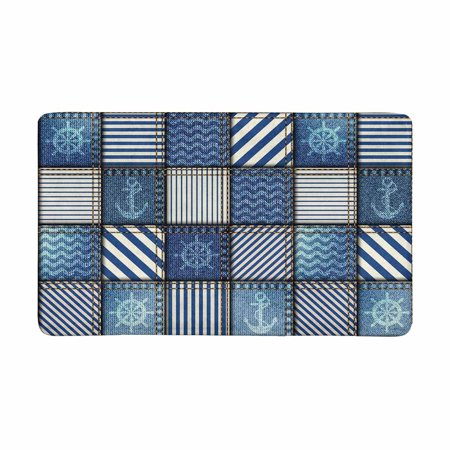 MKHERT Abstract Blue Patchwork with Nautical Anchor and Sea Waves Doormat Rug Home Decor Floor Mat Bath Mat 30x18 (Anchor Nautical Rug)