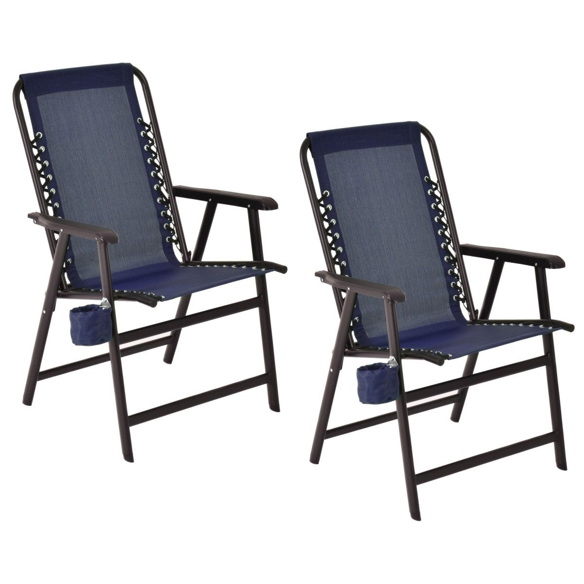 Costway Set Of Two Folding Outdoor Arm Chair Steel Frame W/ Cup Holder Blue