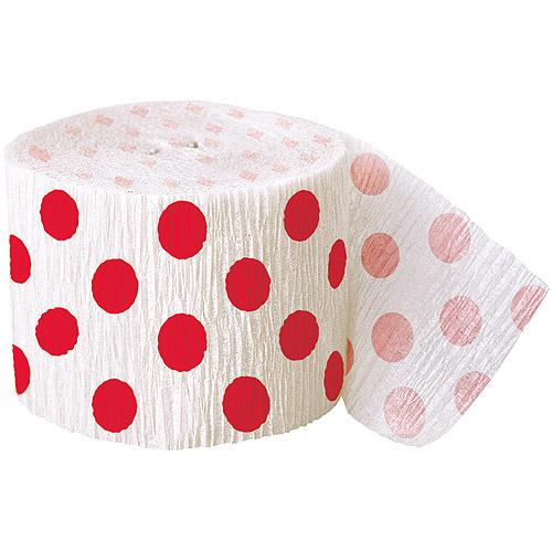 30' Crepe Paper Red Polka Dot Streamers